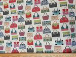 Colourful handbags Fabric UK 80% Cotton 20% Poly giving an upholstered feel - Price Per Metre